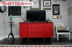 """Country Chic Paint Buffet Makeover is very nicely done, but the rest of the room is unfortunate.   Remove side table and chair.  Do not let the artwork fight the tv...too many big rectangular shapes.   EDIT  EDIT  EDIT.   Too offen I see room described as """"country"""" or """"Shabby Chic"""" when really it is just clutter."""