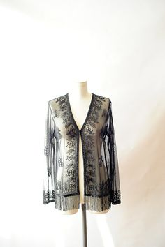 sheer black beaded blouse   nice cover up!
