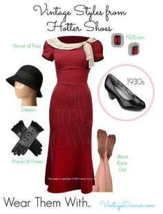 The Angelica shoes by Hotter look wonderful with 1930s style clothing. Shop this look at VintageDancer.com