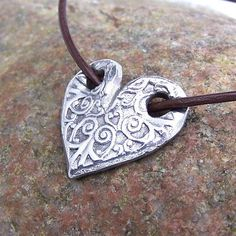 Through My Heart Necklace, Embossed Rustic Design Heart, Valentine Gift, Gift… Metal Clay Jewelry, Ceramic Jewelry, Polymer Clay Jewelry, Heart Jewelry, Jewelry Art, Jewellery, Silverware Jewelry, Precious Metal Clay, Bijoux Diy
