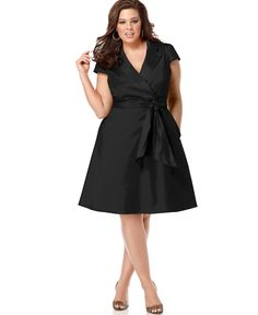 Spense Plus Size Short-Sleeve Wrap Dress - Dresses - Plus Sizes - Macy's