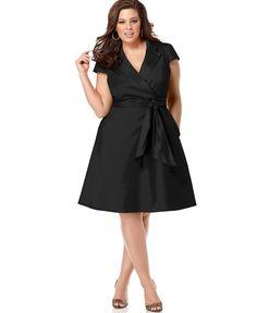 Spense Plus Size Short-Sleeve Wrap Dress - Dresses - Plus Sizes - Macy's