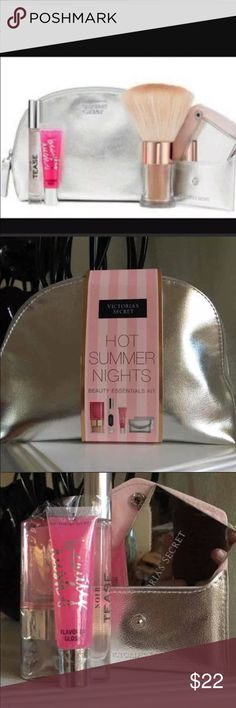 Victoria's Secret cosmetic set Shimmer powder, lipgloss, tease perfume and mirror Makeup Bronzer