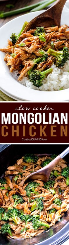 Slow Cooker Mongolian Chicken smothered in the most irresistible sauce is my…