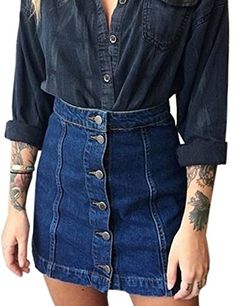 Aiyig Women Girls High Waist ALine ButtonFront Denim Mini Skirt >>> Want to know more, click on the image.(This is an Amazon affiliate link and I receive a commission for the sales)