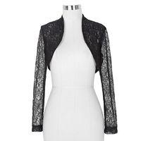 Lace Bridal Boleros Wedding Jackets 2016 Black White Wraps Wedding Accessories Plus Size Long Sleeve Shrug Jackets For Wedding
