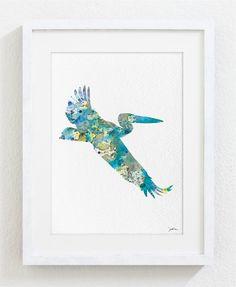 Blue Pelican Watercolor Print - 5x7 Archival Print - Painting, Pelican Art Print - Watercolor Art, Wall Decor Art Home Decor Housewares via Etsy