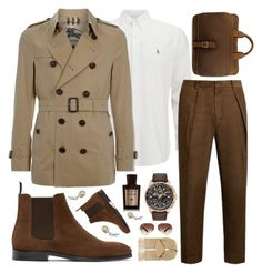 """""""Burberry Coat!!!"""" by sanela-enter ❤ liked on Polyvore featuring Polo Ralph Lauren, Burberry, TOMORROWLAND, PS Paul Smith, Citizen, Ray-Ban, Gieves & Hawkes, Acqua di Parma, men's fashion and menswear"""
