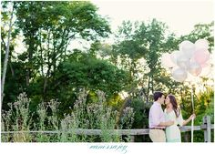 Want to incorporate props into your engagement photo session? Try some balloons or simply a small bouquet of flowers!
