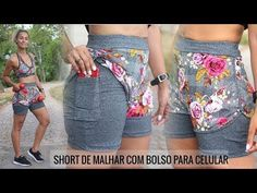 COMO FAZER ROUPA DE ACADEMIA SHORT DUPLO COM BOLSO | MOLDE E COSTURA | Dayse Costa - YouTube Sewing Clothes, Diy Clothes, Como Fazer Short, Skirt Outfits, Cute Outfits, Sewing Lingerie, Lace Bra, Clothing Patterns, Ideias Fashion