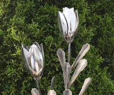 Tulip Silverware Garden Flower Art from Stainless Flatware Spoons