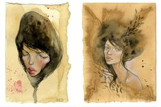 tea stained paintings by stella im hultberg