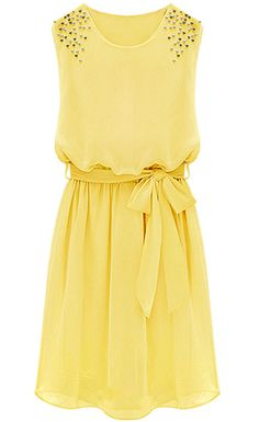 Yellow Sleeveless Bead Belt Chiffon Sundress - Sheinside.com