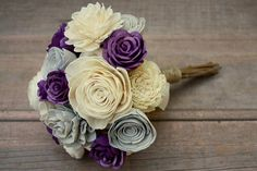 Purple and gray Sola wood flowers, eco flower wedding bouquet Unique wedding bouquet full of natural sola wood flowers. The wooden flowers are hand dyed in shades of deep purple and pale gray with natural ivory blooms as well. This bouquet is made to order and can be customized how