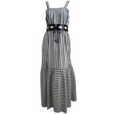 1970#039;s YVES SAINT LAURENT gauzy black striped peasant dress