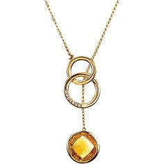 heckerboard Citrine and Diamond Drop Necklace in 14kt Yellow Gold