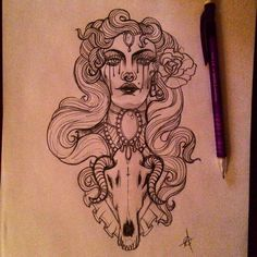 Miserylovesco Mermaid witch tattoo flash
