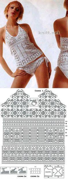 Top met bikinibroekje gehaakt met diagram Más