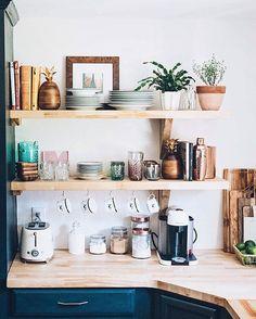 Jess Ann Kirby kitchen renovation with new open shelving and butcher block countertops. Cup hooks under shelves Küchen Design, House Design, Interior Design, Design Ideas, Site Design, Wall Design, New Kitchen, Kitchen Decor, Kitchen Corner