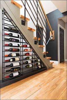 Ideas, Attractive Wine Racks Design Placed Below Of Modern Staircase Made From Metal Materials: Nice Wine Storage Racks to be Applied at You...