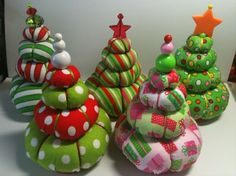 My Christmas Tree Pin Cushions Designed and Created by Margarita-- could use a grungy prim spin :) Fabric Christmas Trees, Christmas Tree Crafts, Christmas Sewing, Xmas Tree, Christmas Projects, Holiday Crafts, Holiday Fun, Christmas Holidays, Christmas Decorations