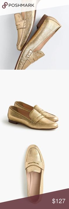 J. Crew Charlie Loafer Gold Like new- lightly worn on the soles. These are THE MOST BEAUTIFUL SHOES EVER! Leather upper and leather soles. Made in Italy. Pure luxury! No scratches, scuffs, tears or stains! J. Crew Shoes Flats & Loafers