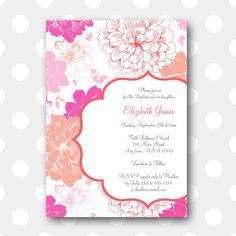 Printable Baptism Invitation  Sunshine Floral por inglishdigidesign, $10,00