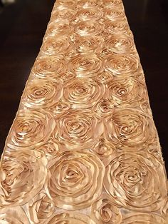 Satin rosette table runner, home decor, wedding decor,  various colors and sizes available, fantasy fabric designs, fantasyfabricdesigns by FantasyFabricDesigns on Etsy