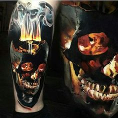 Most awesome tattoos are subtle or suggestive. This particular design is none of those. Portraying a burning skull against a dark background, this is the kind of tattoo men choose when they want to make a strong first impression. #tattoofriday #tattoos #tattooart #tattoodesign #tattooidea