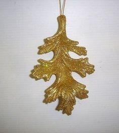 12-New-Gold-Oak-Leaf-Christmas-Tree-Ornaments-Decorations-Bargain-RRP-1-99-each