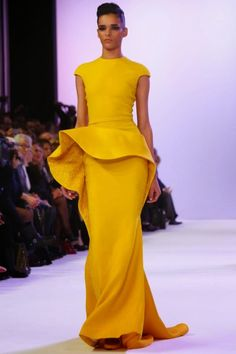 Yellow toned Peplum inspired Gown by Stephane Rolland Spring 2014 Haute Couture