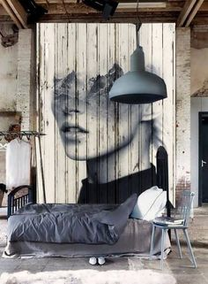 Wood photography manipulation showcase in an industrial decor  [ Read More at http://homesthetics.net/ingenious-breathtaking-wall-art-decor-meant-feed-imagination/ © Homesthetics - Inspiring ideas for your home.]