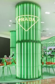 Prada opens green pop-up store in Paris Dark Green Aesthetic, Rainbow Aesthetic, Aesthetic Colors, Aesthetic Collage, Aesthetic Pictures, Aesthetic Shop, Bedroom Wall Collage, Photo Wall Collage, Picture Wall
