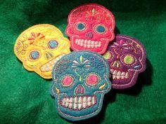 Wild Hearses -   Mini Mexican Sugar Skull embroidery 4 piece patch set multi colors felt 2inX3in. $14.00, via Etsy.