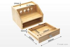 Gadgets Desktop Organiser Cable Tidy with a Drawer. Holes for charging phones, players, cameras, etc. Natural Bamboo by Woodquail Woodworking Projects For Kids, Diy Wood Projects, Minis, Desk Organization Diy, Leather Jewelry Box, Cable Organizer, Wall Mounted Shelves, Tissue Boxes, Planer