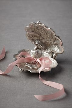 Silvery Seashell Ring Holder from BHLDN. Lovely for a beach/nautical wedding. Dream Wedding, Wedding Day, Wedding Rings, Miami Wedding, Wedding Blog, Gris Rose, Nautical Wedding, Seaside Wedding, Nautical Style