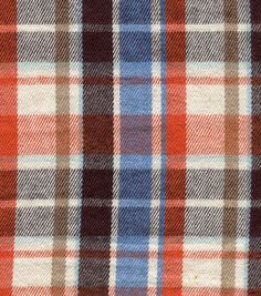 Flannel Shirting Fabric-Orange & Blue Plaid Shirting