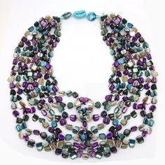 Genuine Freshwater Pearls Twist Necklace-Purple/Aqua/Black/Cream/Blue Multi Color-20 Inch Width.  Perfect for any occasion!  * Purple Genuine Freshwater Pearls Twist Necklace.  * 20 Inch Width Necklace.