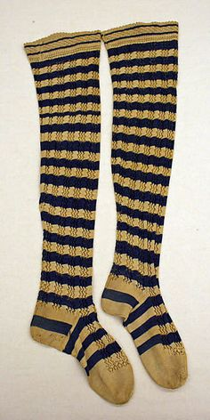 Stockings from the Metropolitan Museum -- 1800s, but still, really cool! http://www.metmuseum.org/Collections/search-the-collections/121568?rpp=40&pg=13&ao=on&ft=linen+bedspread&when=A.D.+1800-1900&pos=517