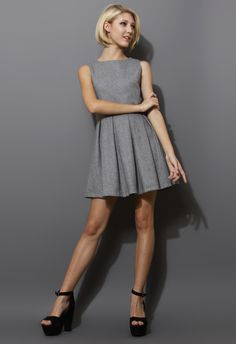 Grey Pleated Sleeveless Dress - New Arrivals - Retro, Indie and Unique Fashion