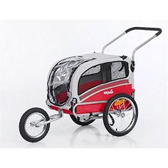 Dog Bicycle Trailers - Sepnine 2 in1 medium pet dog bike trailer bicycle carrier and stroller jogger 20303 redgrey >>> Continue to the product at the image link. (This is an Amazon affiliate link)
