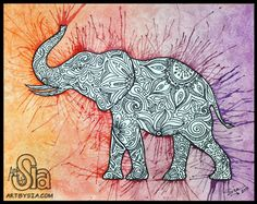 Watercolor Zentanlge Elephant, 2013 | 8x10 | Watercolor and ink pen on watercolor paper  FOR SALE IN MY ETSY SHOP!https://www.etsy.com/listing/150090721/watercolor-zentangle-elephant-original