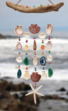 Sea Shell Wind Chimes Driftwood Seashell by seashorewindchimes