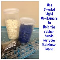 Use Crystal Light containers to hold rubber bands for your Rainbow Loom!  RainbowLoom, Rainbow Loom, Rubber Bands, crafts, creative, storage.