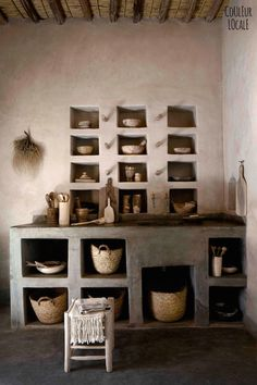 beautiful Moroccan home decorated by Couleur Locale - hand made utensils, hand finished Tadelakt (traditional plaster walls)