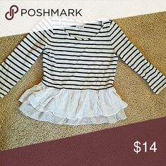 Adorable french look striped tee with ruffles Blue and whife striped tee with 2 layers of ruffles. So parisian looking. Size xs Maison Jules Tops Tees - Long Sleeve