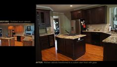 Before amp after from dated wood cabinets to custom stained finish