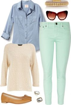 Great outfit for a casual spring session! Mint Jeans Outfit, Mint Pants, Pants Outfit, Jean Outfits, Casual Outfits, Cute Outfits, Work Outfits, Polyvore Outfits, Office Outfits Women