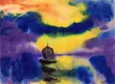 Evening Sky and Sea with Sailboat by Emil Nolde