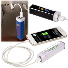PL-4447 Econo Mobile Charger. Portable Grade A Lithium-ion battery in ABS plastic shell allows you to charge your devices virtually anywhere. Power bank includes standard USB connector cable to charge battery from your computer or any USB port with a power supply. Input: 5V DC; Capacity: 2200mA; Output: 1000mA. Lifespan: Up to 350 charges. CE and FCC approved.
